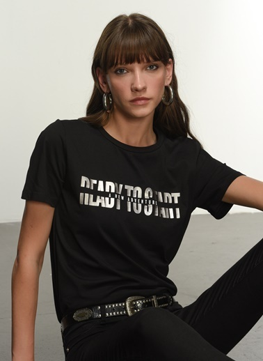NGSTYLE Ngkss21Ts0062 Varak Baskılı Tshirt Siyah